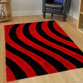AllStar Rugs Red Shaggy Area Rug with 3D Black Lines Design. Contemporary Formal Casual Hand Tufted (5' x 7')