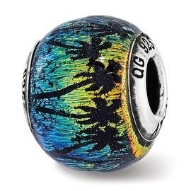 Italian Sterling Silver Reflections Palm Trees Rainbow Murano Glass Bead (4.5mm Diameter Hole)