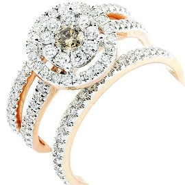 1cttw Cognac and White Diamond Bridal Set 10K Rose Gold Engagement Ring and 2 Matching Band