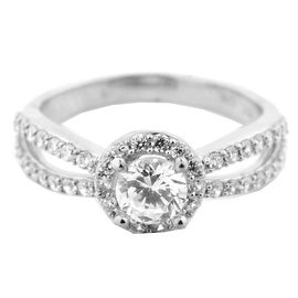 10K White Gold Bridal Engagement Ring 1.5ctw CZ 5mm Wide halo Style