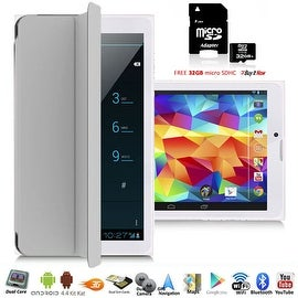 Indigi® 7inch Unlocked 3G Smart Phone 2-in-1 Phablet Android 4.4 Tablet PC w/ Built-in Smart Cover + 32gb microSD (Grey)