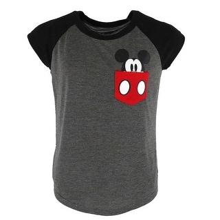 Disney Youth Mickey Mouse Peeking Pocket Tee Shirt - Grey