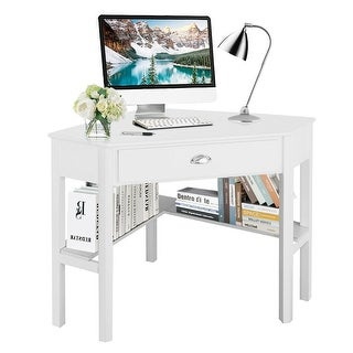 Costway Corner Computer Desk Laptop Writing Table Wood Workstation