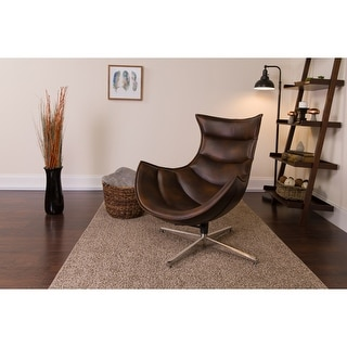 LeatherSoft Swivel Cocoon Chair