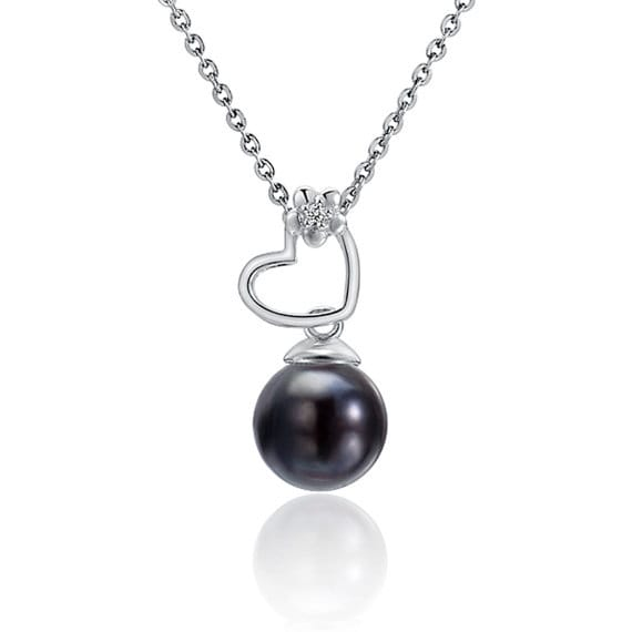 "Heart Black Pearl Necklace Sterling Silver Pendant 18"" Chain"