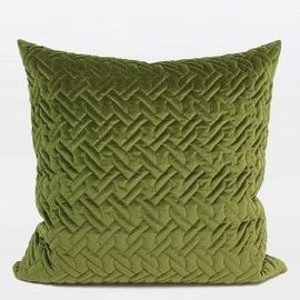 """Gentille Home Collection Luxury Green Braid Textured Quilting Pillow 24""""X24"""""""