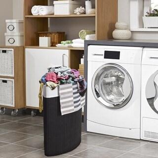 Costway Corner Bamboo Hamper Laundry Basket Washing Cloth Bin Storage