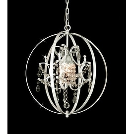 Wrought Iron and Crystal Orb White Chandelier Pendant