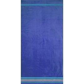 Hampton Stripe Solid Cobalt Brazilian Jacquard Velour Pool Beach Towel 40x70 Inches 100 Percent Cotton