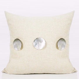 "Gentille Home Collection Luxury Beige Handmade Round Shell Pillow 18""X18"""