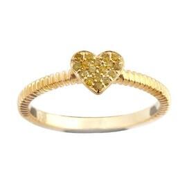 Beautiful Round Brilliant Cut Yellow Diamond Heart Shaped Valentine Ring