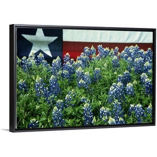 """""""Bluebonnets, Texas state flag in background, USA"""" Black Float Frame Canvas Art"""