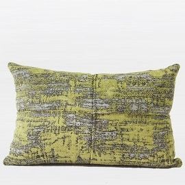 "Gentille Home Collection Luxury Lemon Yellow Mix Color Metallic Chenille Pillow 14""X20"""