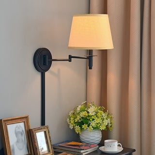Copper Grove Leyden Blackened Oil Rubbed Bronze 14-inch Wall Swing Arm Lamp