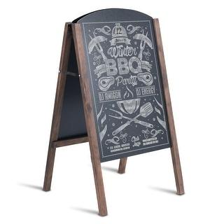 Costway 31.5'' Wood A-Frame Chalkboard Menu Sign Board Sidewalk