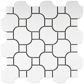 TileGen. Halibon with Dot Random Sized Porcelain Mosaic Tile in White Floor and Wall Tile (11 sheets/10.12sqft.)