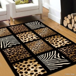 "Allstar Black Dots Square Animal Prints Design Modern Geometric Area Rug (3' 9"" x 5' 1"")"