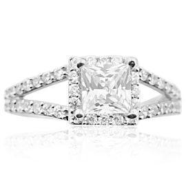 10K White Gold Engagement Ring With Princess Cut and Split Shoulder 8mm Wide 1.5ctw CZ