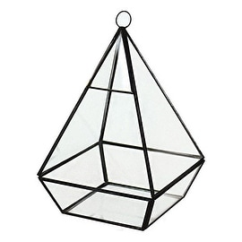 "CYS® Hanging Metal Glass Vase Geometric Diamond Pyramid Terrarium / Candle Holder - 8"" (Chain Included)"
