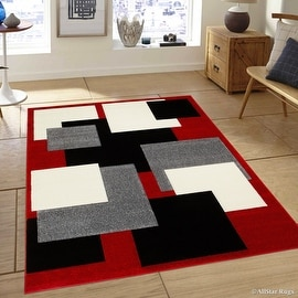 "AllStar Rugs Red Modern Geometric Grey and Black square design Area Rug (3' 9"" x 5' 1"")"