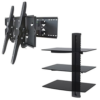 2xhome - NEW TV Wall Mount Bracket (Dual Arm) & Triple Shelf Package - Secure Cantilever LED LCD Plasma Smart 3D WiFi Flat Panel