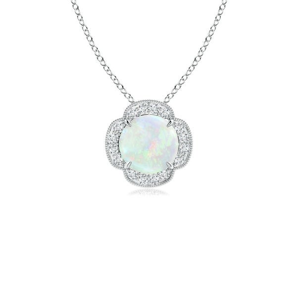 Claw Set Diamond Halo Cabochon Opal Clover Pendant in 14K White Gold (6mm Opal)
