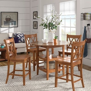 Eleanor Antique Drop Leaf Round Counter Height Dining Set by iNSPIRE Q Classic