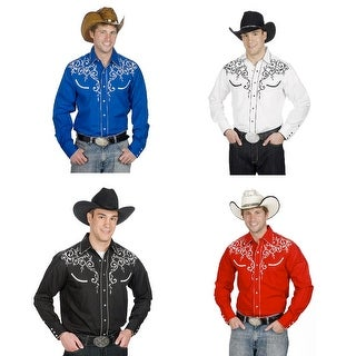 Men's Cotton Blend Retro Leaf Embroidery Western Shirt