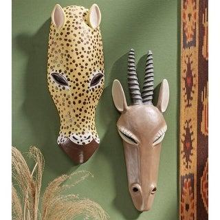 Design Toscano African Serengeti Tribal-Style Animal Wall Mask: Gemsbok & Jaguar