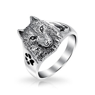 Hunter Animal Paw Print Wolf Signet Ring Oxidized 925 Sterling Silver