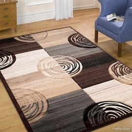 """Allstar Brown Hand Carved Indian Contemporary Circles Area Rug (5' 2"""" x 7' 2"""")"""