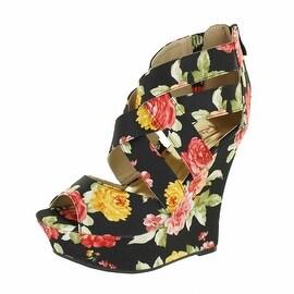 Red Circle Footwear 'Chrissy' Floral Print Wedge