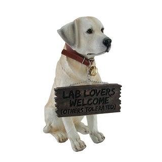 Labrador Retriever Garden Welcome Statue Reversible Sign Don't Stop Retrievin - 13.5 X 5 X 9.25 inches