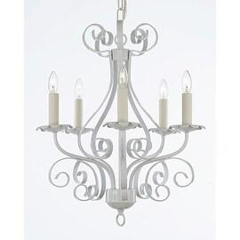 White Wrought Iron 5 Light Chandelier Pendant