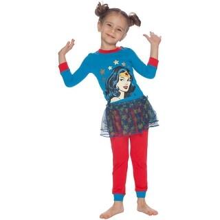 DC Comics Toddler Girls Wonder Women Snug-Fit Cotton 3 Piece Tutu Pajama Set