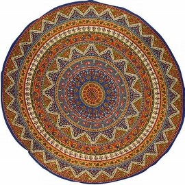 """Handmade Mandala Floral and Elephant Printed Cotton Tablecloth 76"""" Round"""