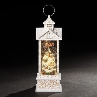 "11.5"" White Brick Flying Santa Christmas Village Light Up Snow Globe Lantern"