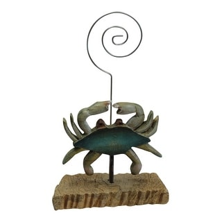 Carved Blue Crab on Natural Wood Desktop Photo or Recipe Card Holder