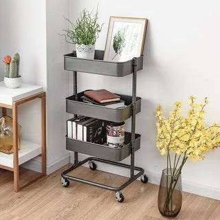 Gymax 3 Tier Metal Rolling Utility Cart Storage Mobile Organization