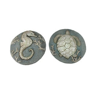 Set of 2 Seahorse and Sea Turtle Cement Garden Stepping Stones - 1 X 9.5 X 9.5 inches