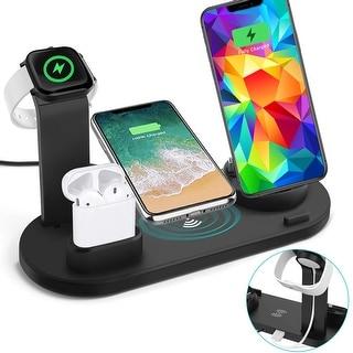 Indigi 10W Wireless Charging & USB Rotating Dock Stand (iOS Connector, USB-C, microUSB) + EarPod/iWatch Docking Stand