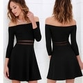 Sexy Women Casual Summer Cocktail Party Evening Cold Shoulder Lace Short Mini Dress
