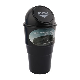 Black Plastic Push Lid Portable Garbage Trash Can for Home Office Vehicle Car Black
