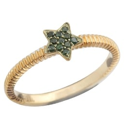 Brand New Round Brilliant Cut Real Green Diamond Star Shaped Fancy Ring