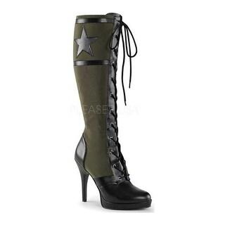 Funtasma Women's Arena 2022 Knee High Boot Black PU/Army Green Canvas