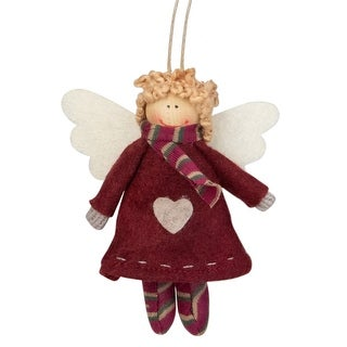 """4.25"""" Red and White Angel with Wings Hanging Christmas Ornament"""