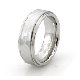 Hammered Cobalt Chrome Ring Wedding Band