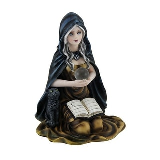 Kneeling Witch Holding Crystal Ball w/Black Cat Figurine - 5.5 X 4 X 3.75 inches