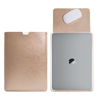 MacBook 13 inch with Retina Display Protective Soft Sleek Sleeve Cover Carrying Bag with Exterior Mouse Pad (Gold)
