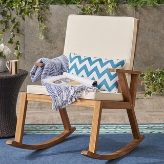 Champlain Outdoor Acacia Wood Rocking Chair with Water-Resistant Cushions by Christopher Knight Home
